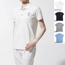 MONCLER Casual Style Cotton Medium Short Sleeves Polo Shirts