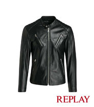 REPLAY Short Street Style Plain Leather Biker Jackets