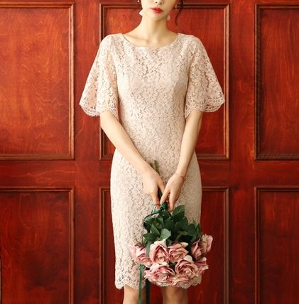 Flower Patterns Tight U-Neck Medium Party Style Lace