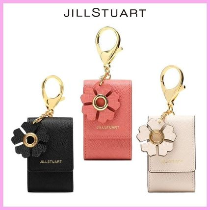 Flower Patterns Plain Leather Keychains & Bag Charms