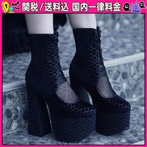 DOLLS KILL Platform Lace-up Casual Style Faux Fur Lace-up Boots