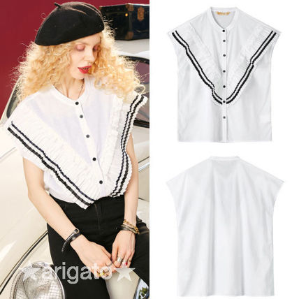 Casual Style Sleeveless Street Style Bi-color Cotton