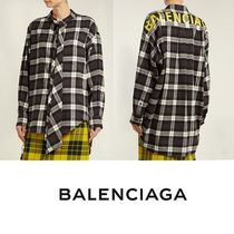 BALENCIAGA Other Check Patterns Casual Style Long Sleeves Cotton Long