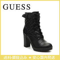 Guess Lace-up Faux Fur Plain Chunky Heels Lace-up Boots
