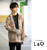 Other Check Patterns Unisex Street Style Long Sleeves Cotton