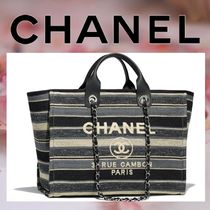 CHANEL Stripes Casual Style Canvas Blended Fabrics A4 2WAY Chain