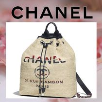 CHANEL Casual Style Canvas Blended Fabrics A4 Chain Plain Purses