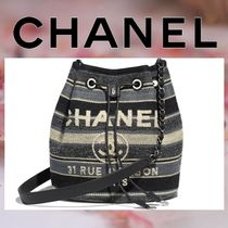 CHANEL Stripes Casual Style Canvas Blended Fabrics Chain Purses