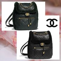 CHANEL Lambskin Blended Fabrics 2WAY Chain Plain Elegant Style