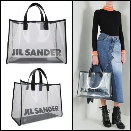 Casual Style Unisex A4 Plain Crystal Clear Bags PVC Clothing