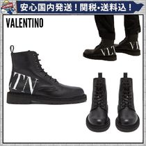 VALENTINO Round Toe Lace-up Casual Style Bi-color Plain Leather