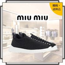 MiuMiu Round Toe Rubber Sole Casual Style Blended Fabrics Studded