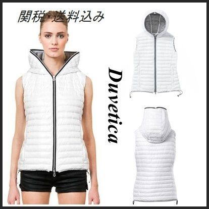 Short Casual Style Bi-color Plain Down Jackets