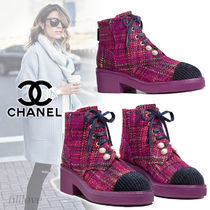 CHANEL Other Check Patterns Platform Casual Style Tweed