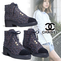CHANEL Other Check Patterns Platform Tweed Ankle & Booties Boots