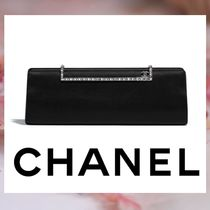 CHANEL Blended Fabrics Plain Party Style Clutches