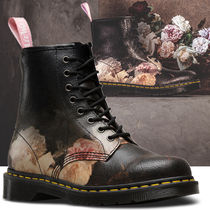 Dr Martens Flower Patterns Lace-up Unisex Street Style Leather