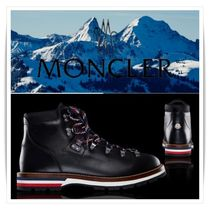 MONCLER Plain Toe Mountain Boots Blended Fabrics Plain Leather