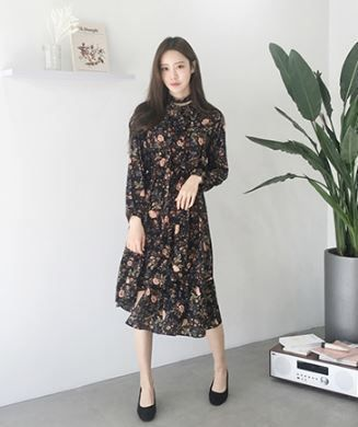 Wrap Dresses Flower Patterns Casual Style Long Sleeves Long