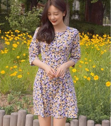 Short Flower Patterns Casual Style Flared Cropped Cotton