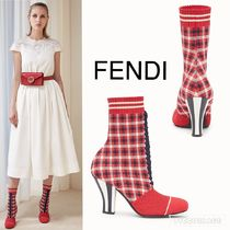 FENDI Plain Toe Casual Style Block Heels Ankle & Booties Boots