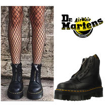 Dr Martens Platform Casual Style Plain Leather Mid Heel Boots