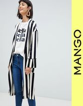 MANGO Stripes Casual Style Long Jackets