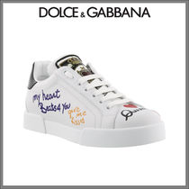 Dolce & Gabbana Round Toe Rubber Sole Casual Style Leather Low-Top Sneakers