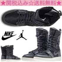 Nike JORDAN 1 Round Toe Rubber Sole Lace-up Casual Style Plain