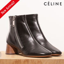 CELINE Round Toe Blended Fabrics Bi-color Plain Leather Block Heels