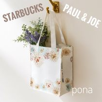STARBUCKS Flower Patterns Casual Style Nylon Collaboration Shoppers