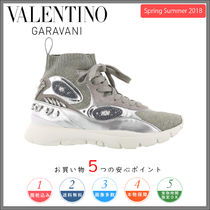 VALENTINO Round Toe Rubber Sole Lace-up Casual Style Leather
