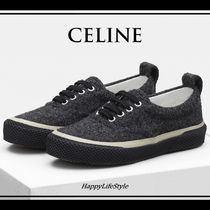CELINE Rubber Sole Lace-up Casual Style Plain Low-Top Sneakers