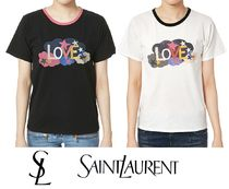 Saint Laurent U-Neck Cotton Short Sleeves T-Shirts