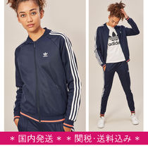 adidas Stripes Casual Style Street Style Long Sleeves Plain Cotton