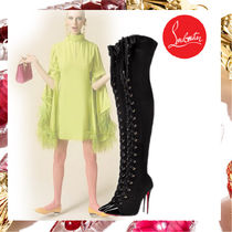 Christian Louboutin Lace-up Casual Style Plain Leather Pin Heels Lace-up Boots