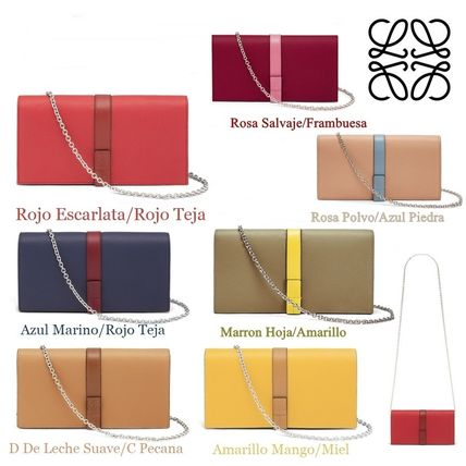 Calfskin Bi-color Chain Plain Long Wallets