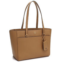 Tory Burch ROBINSON A4 Plain Leather Office Style Totes
