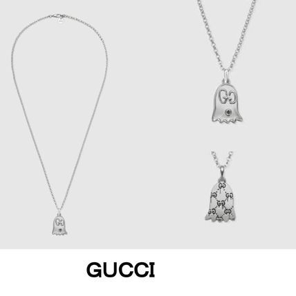 GUCCI Gucci Ghost Unisex Street Style Chain Silver Necklaces \u0026 Chokers