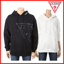 Guess Pullovers Unisex Long Sleeves Plain Cotton Hoodies