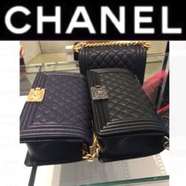 CHANEL BOY CHANEL Other Check Patterns Calfskin Street Style 2WAY Chain Plain