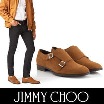 Jimmy Choo Plain Toe Monk Suede Plain Loafers & Slip-ons