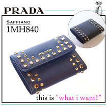 PRADA SAFFIANO LUX Saffiano Plain With Jewels Folding Wallet Folding Wallets