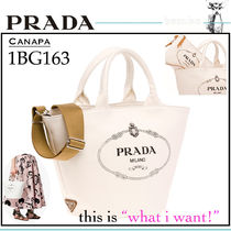 PRADA CANAPA Casual Style Unisex Canvas 2WAY Plain Totes