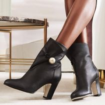 Jimmy Choo Round Toe Plain Leather With Jewels Chunky Heels