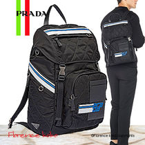 PRADA V135 Unisex Nylon Blended Fabrics A4 Bi-color Backpacks