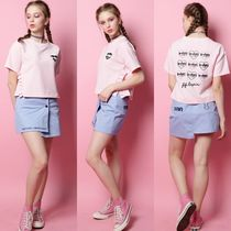 FIFI LAPIN Crew Neck Short Collaboration Plain Short Sleeves Cropped