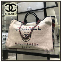 CHANEL Stripes Canvas A4 2WAY Chain Plain Elegant Style Totes