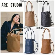 ARE STUDIO Casual Style Plain Leather Office Style Totes