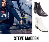 Steve Madden Round Toe Casual Style Street Style Plain Leather
